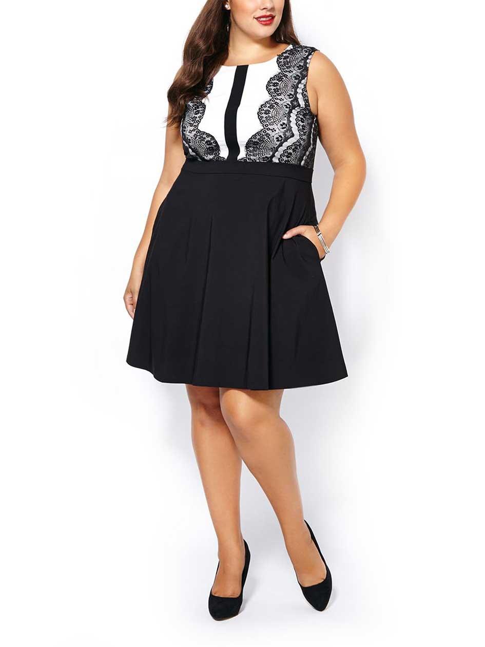 Sleeveless Dress with Lace Trim