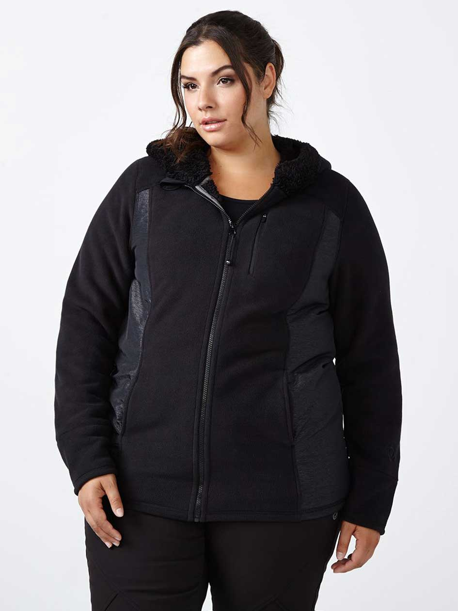 Sports - Plus-Size Hooded Fleece Jacket