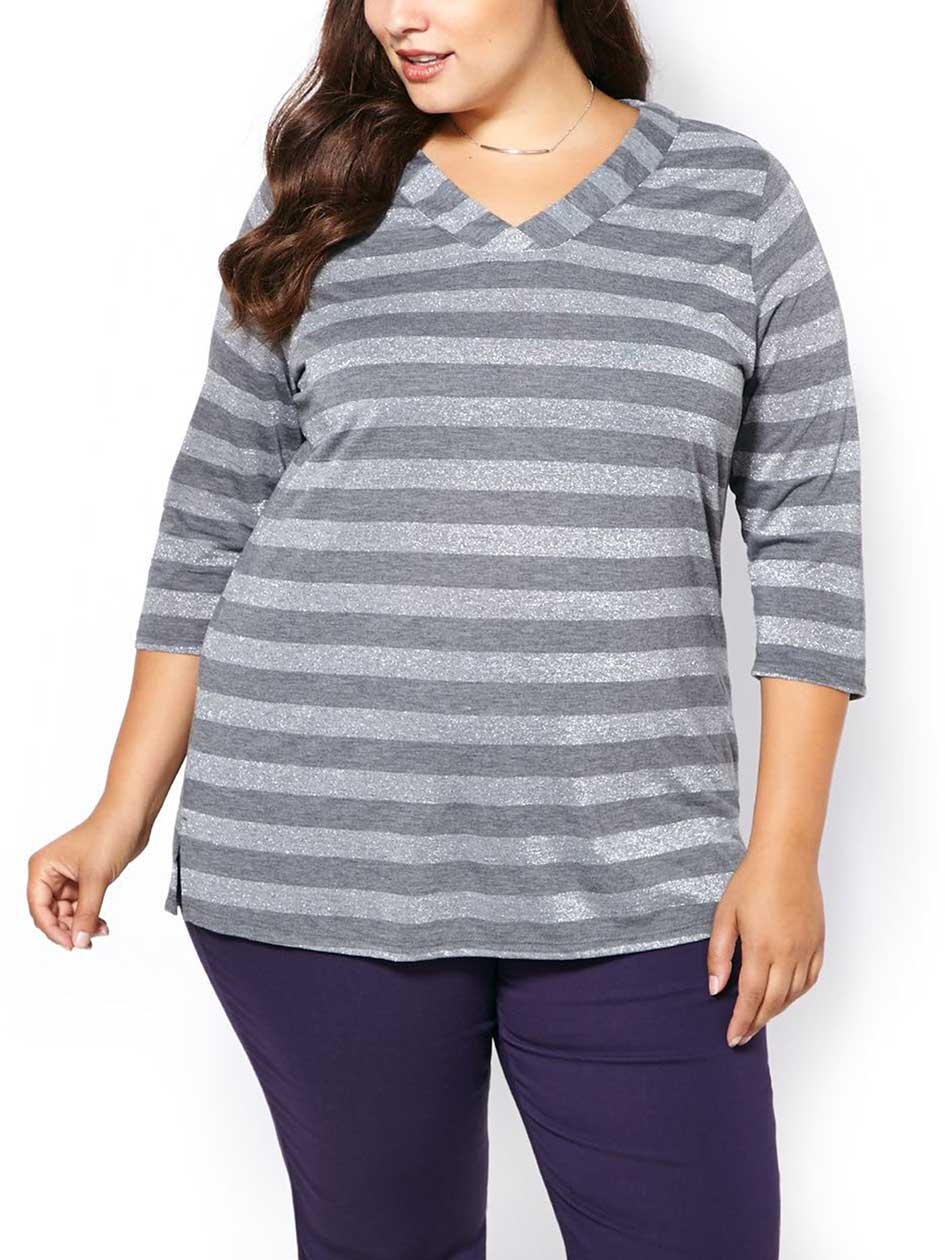 Relaxed Fit Striped Elbow Sleeve T-Shirt