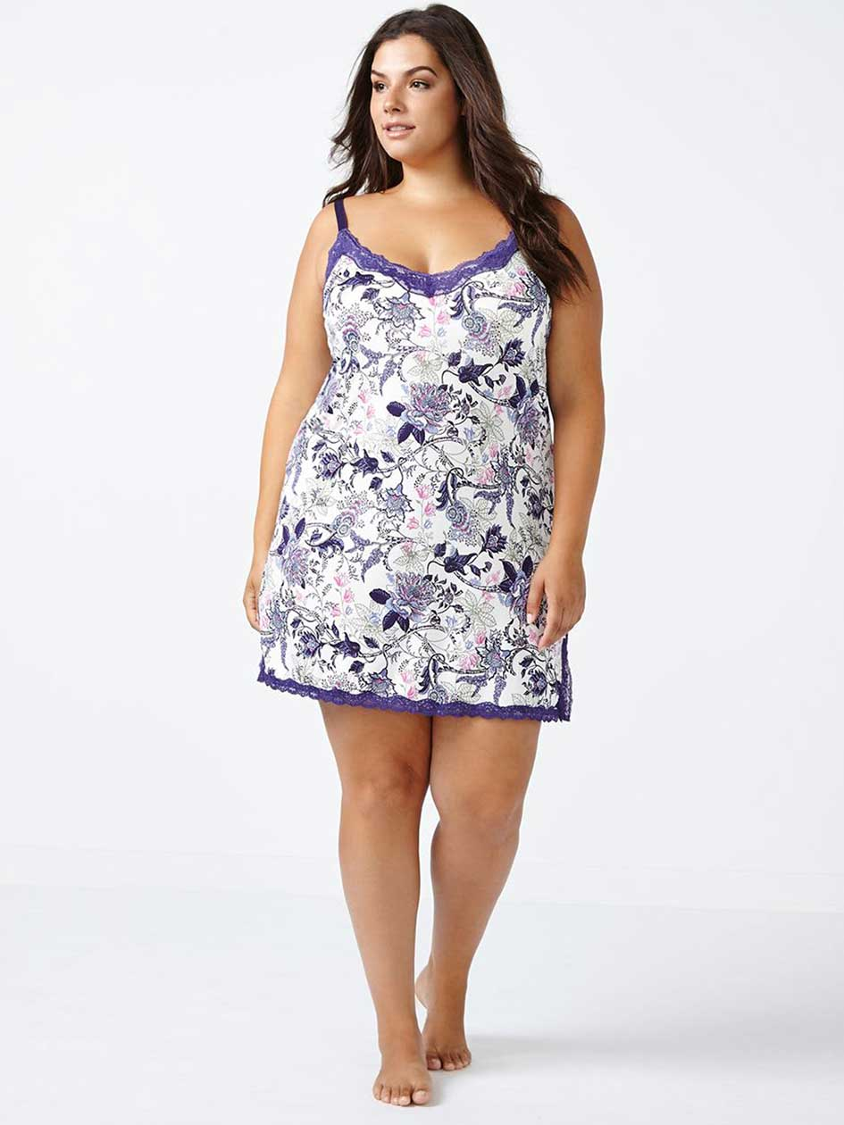 Ti Voglio Printed Sleep Chemise with Lace