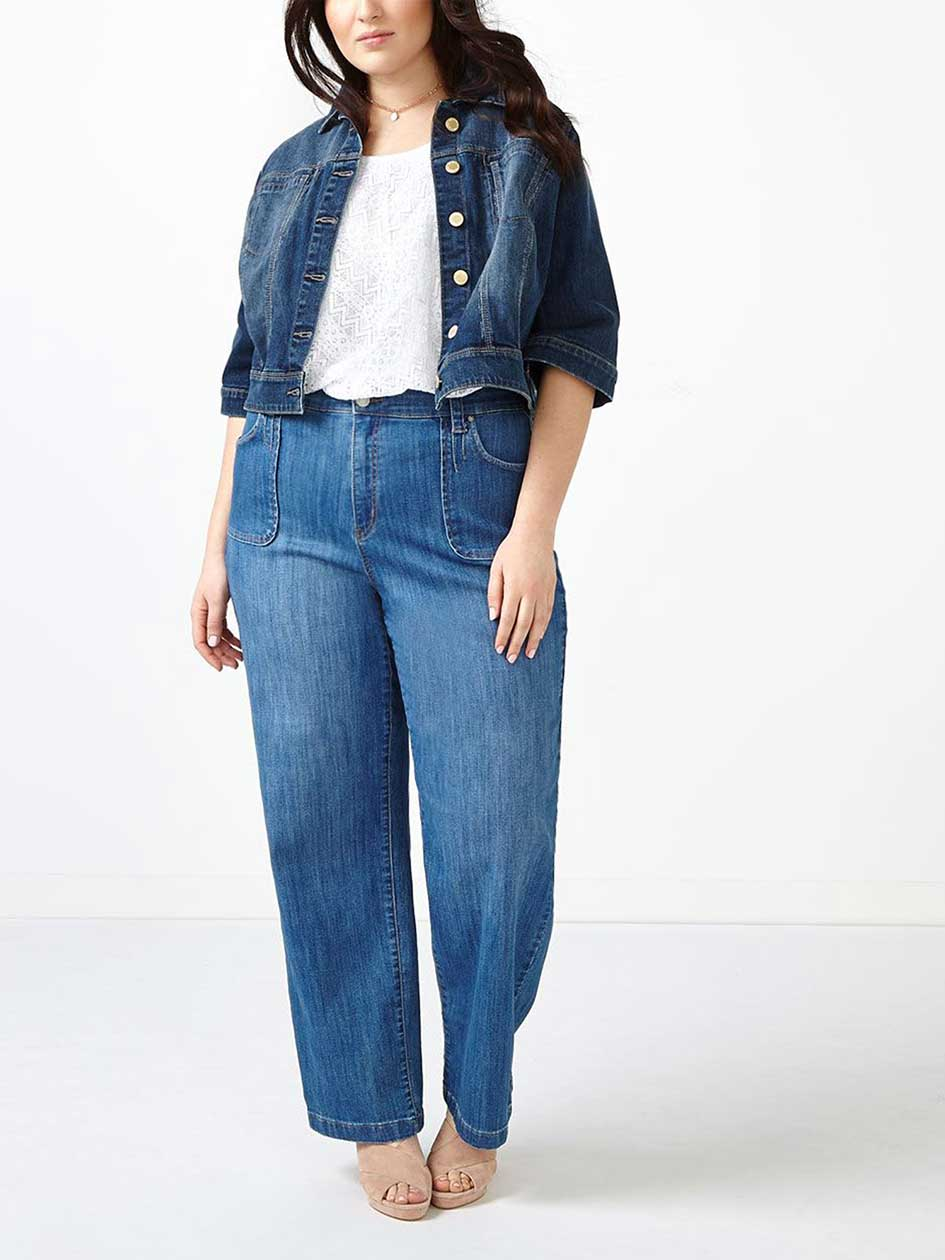 d/c JEANS Elbow Sleeve Cropped Denim Jacket