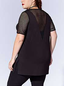Tess Holliday - Short Sleeve Mesh Trim Top