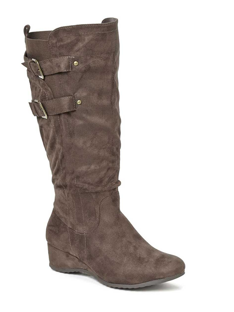 Wide-Width Faux-Suede Boots