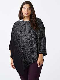 Patterned Sweater Poncho