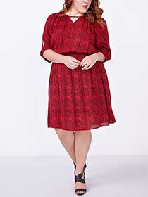 3/4 Sleeve Cold Shoulder Printed Dress