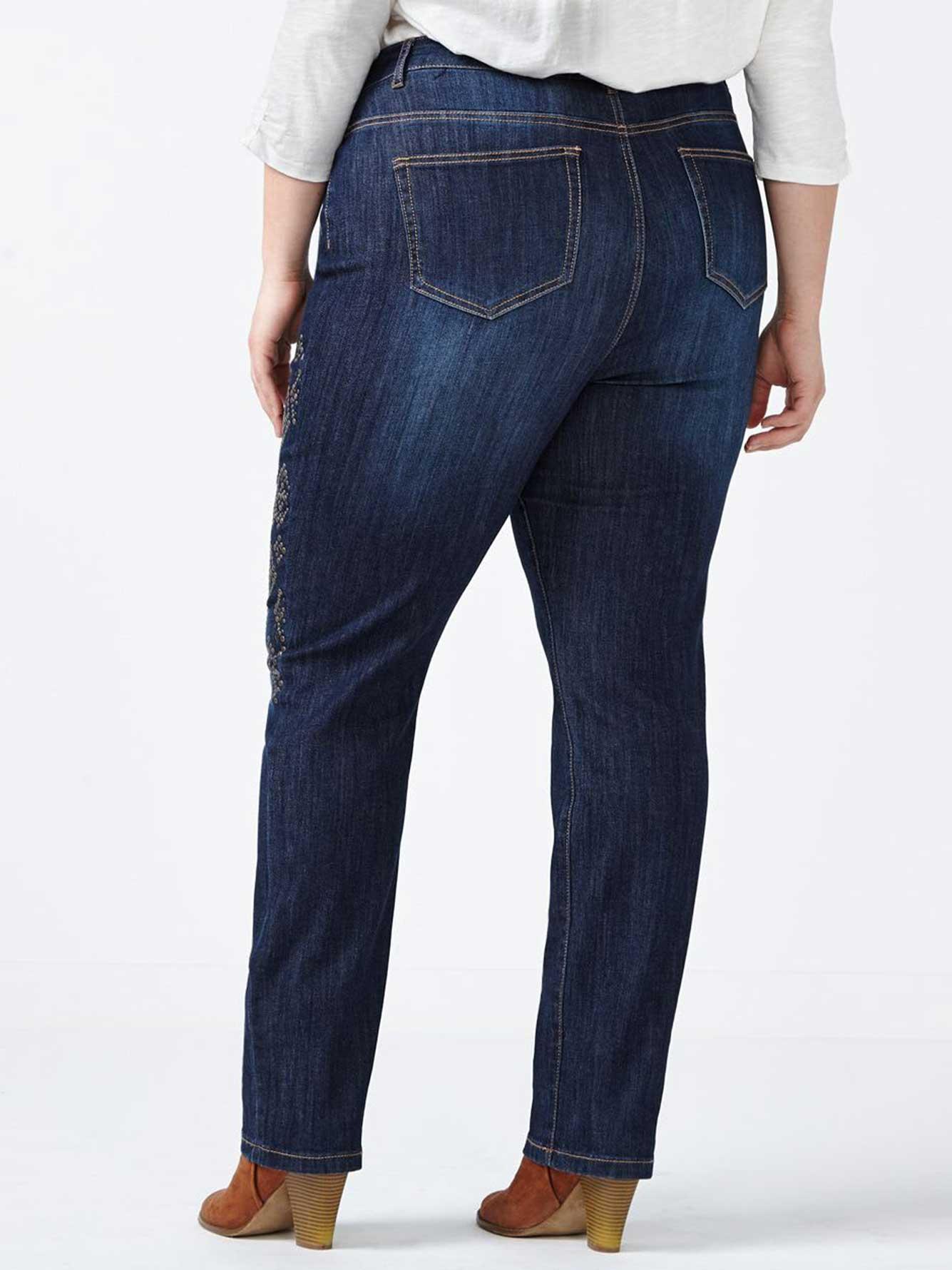 online only d c jeans tall slightly curvy fit straight leg embellished jean penningtons. Black Bedroom Furniture Sets. Home Design Ideas