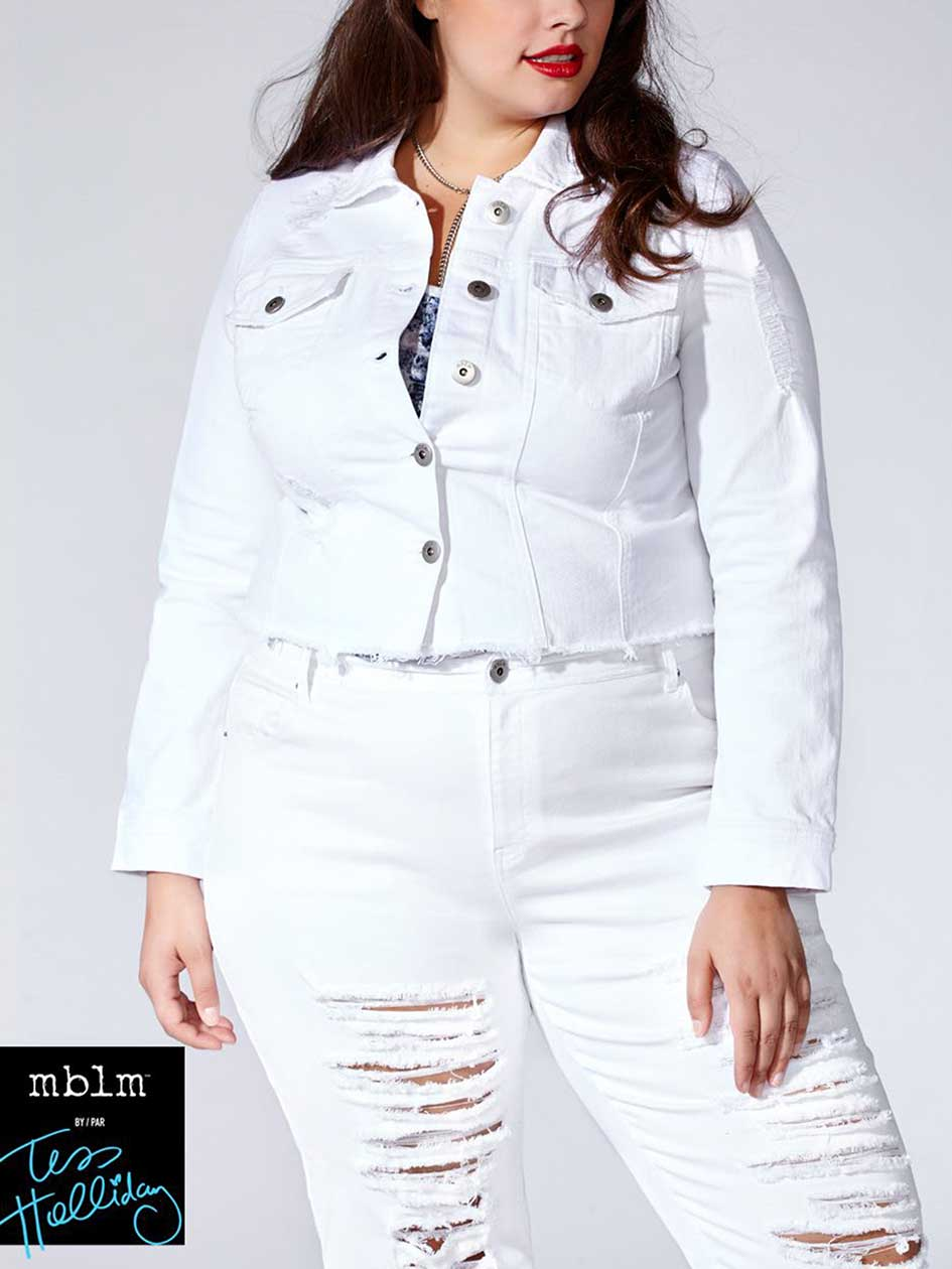 Tess Holliday - Cropped White Denim Jacket