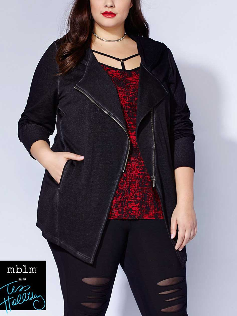 Tess Holliday - Long Sleeve Zip Up Asymmetric Hoodie