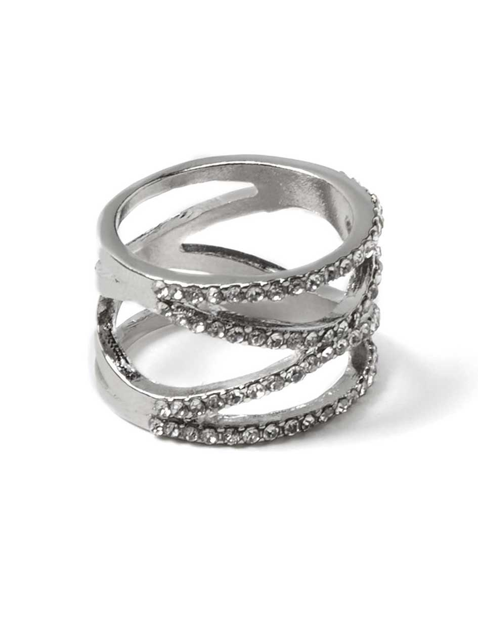 Crisscross Eternity Ring with Rhinestones