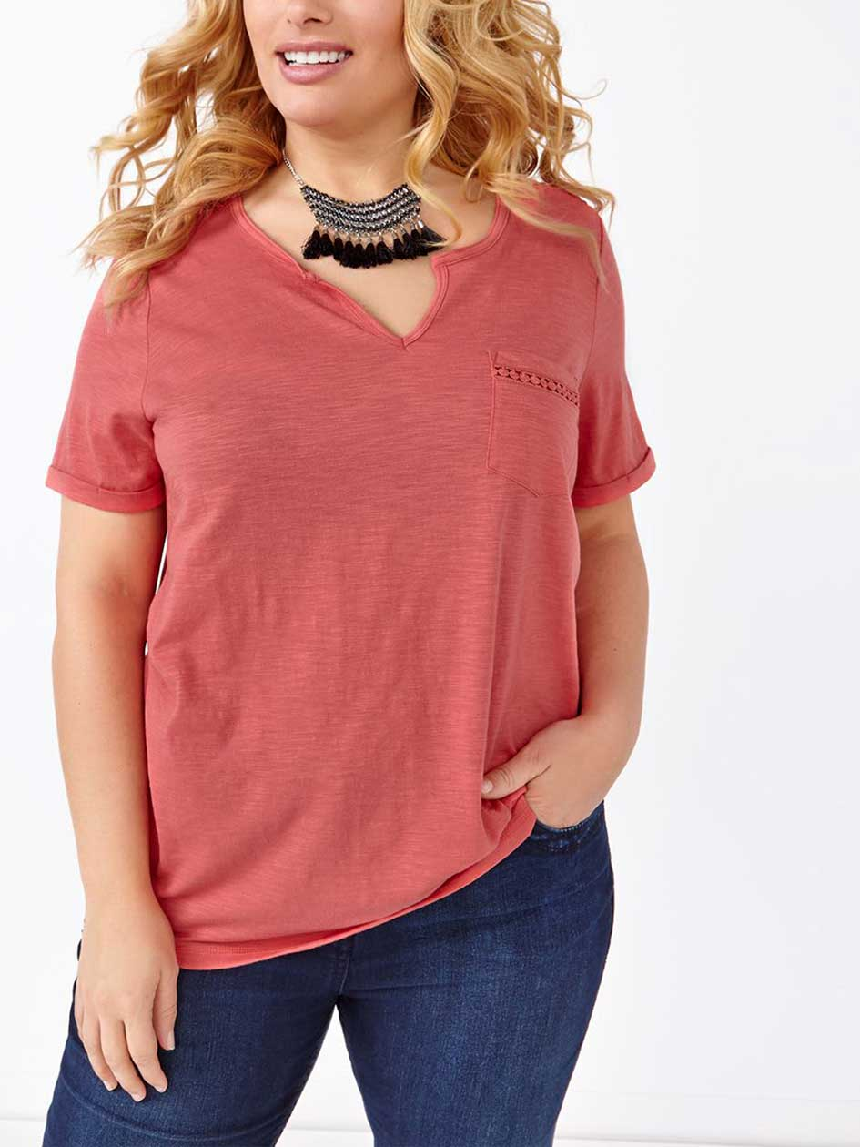 Relaxed Fit Split Neck T-Shirt