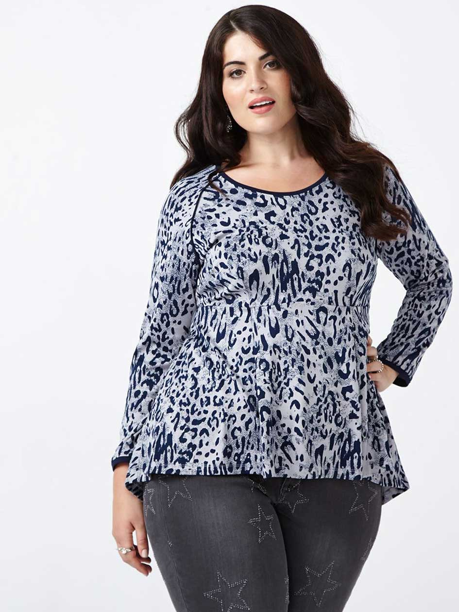 MELISSA McCARTHY Animal Print Peplum Top