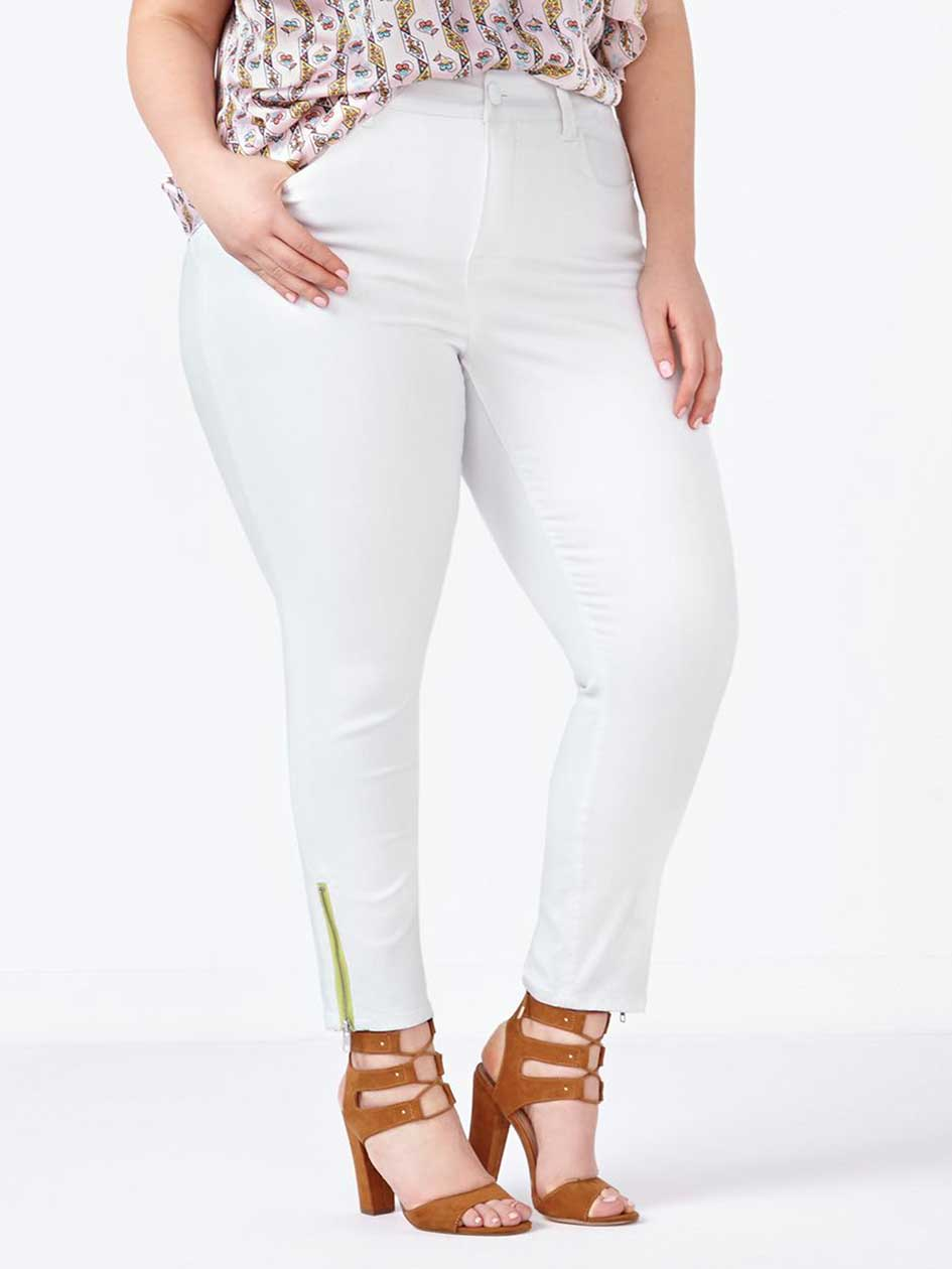 MELISSA McCARTHY White Pencil Jean with Zippers