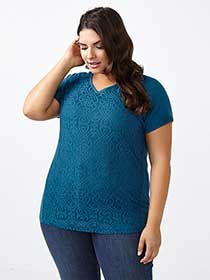 Curve Fit Lace Front V-Neck T-Shirt
