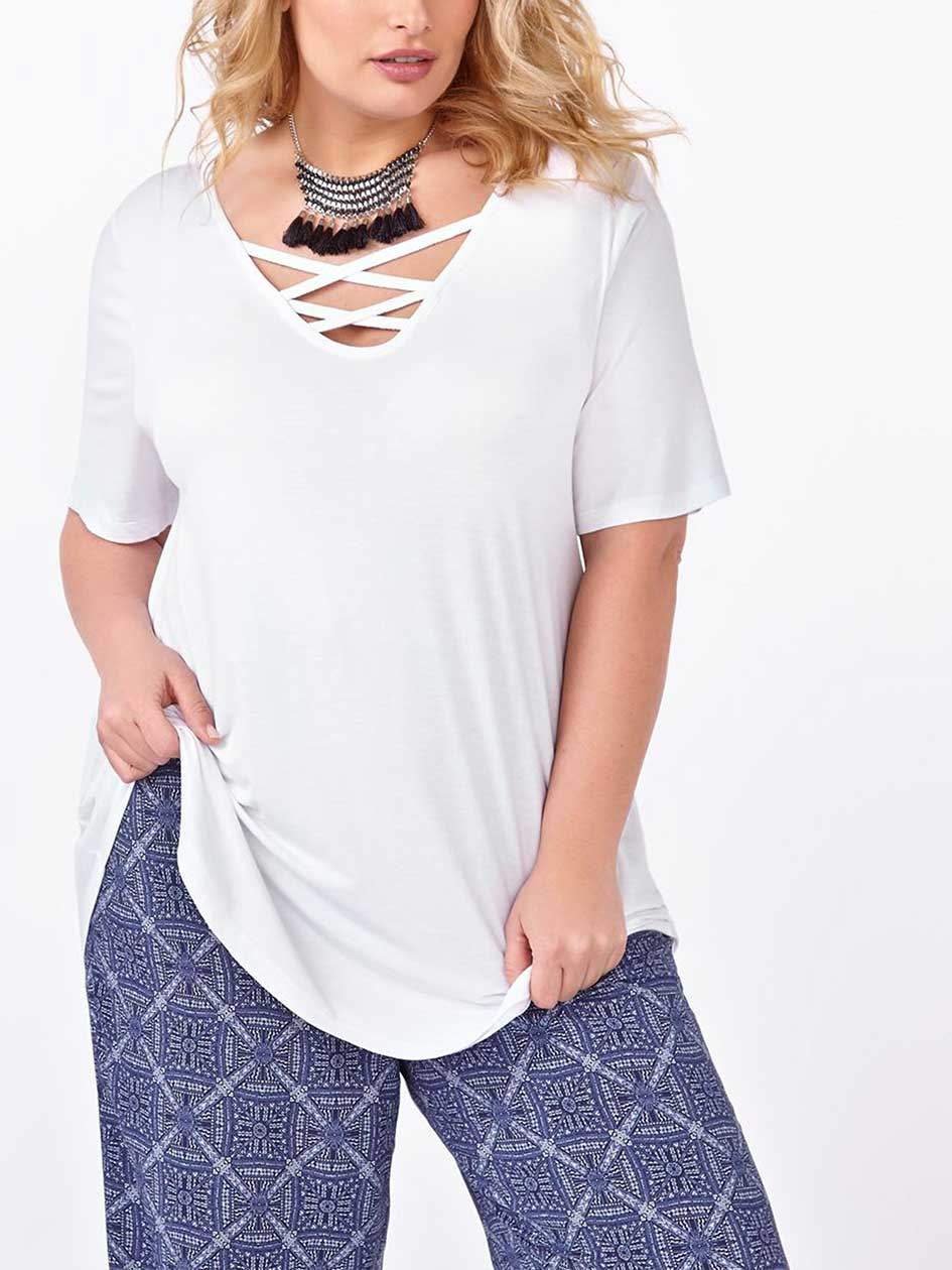 d/c JEANS Short Sleeve Lace Up Top