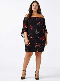 ONLINE ONLY Off Shoulder Printed Dress