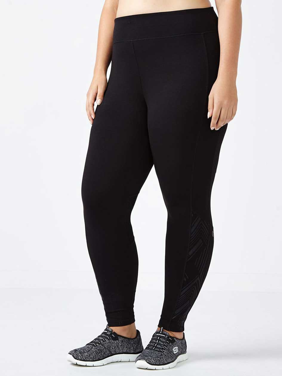 Essentials - Plus-Size Foil Print Legging with Mesh