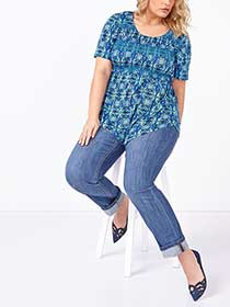 Short Sleeve Printed Smocked Top