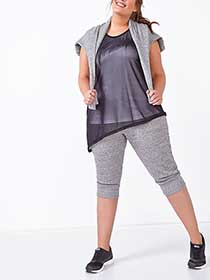 Athleisure - Plus-Size Asymmetric Mesh Tank Top