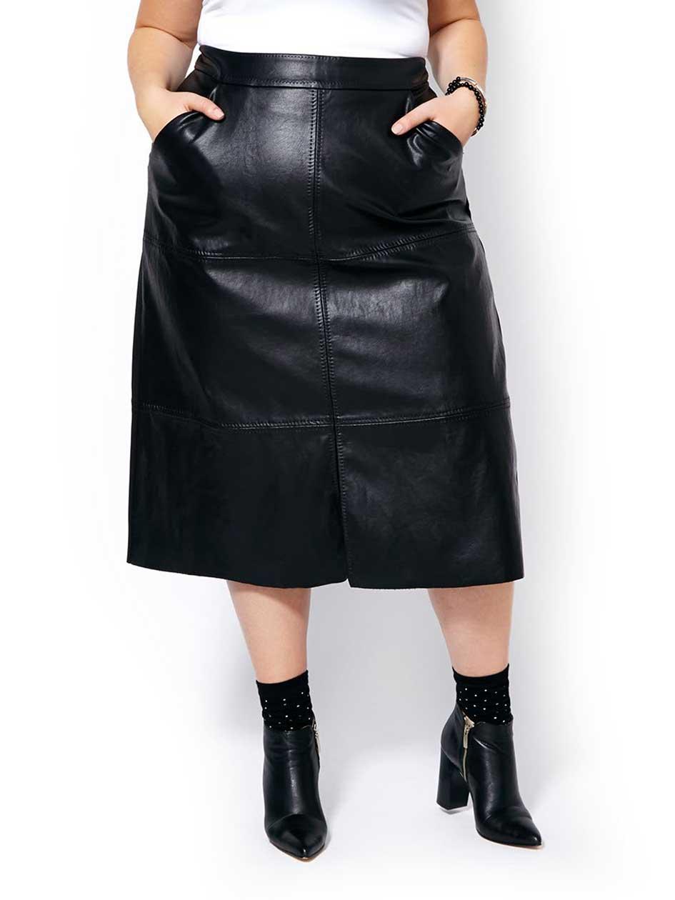 MELISSA McCARTHY Faux-Leather Front Skirt