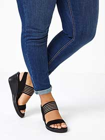 Skechers Wide-Width High Heel Wedge Sandals