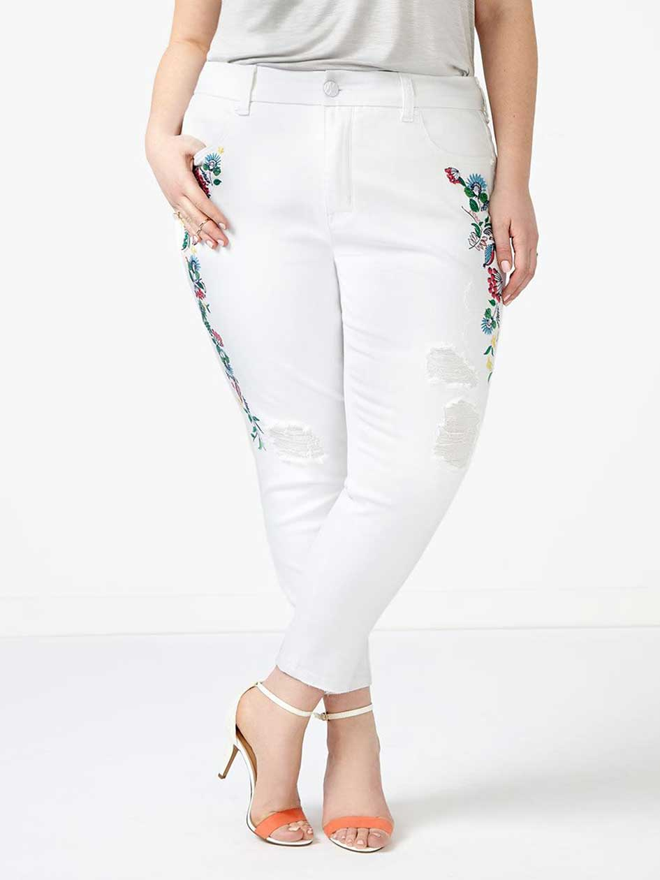 MELISSA McCARTHY Embroidered White Pencil Ankle Jean