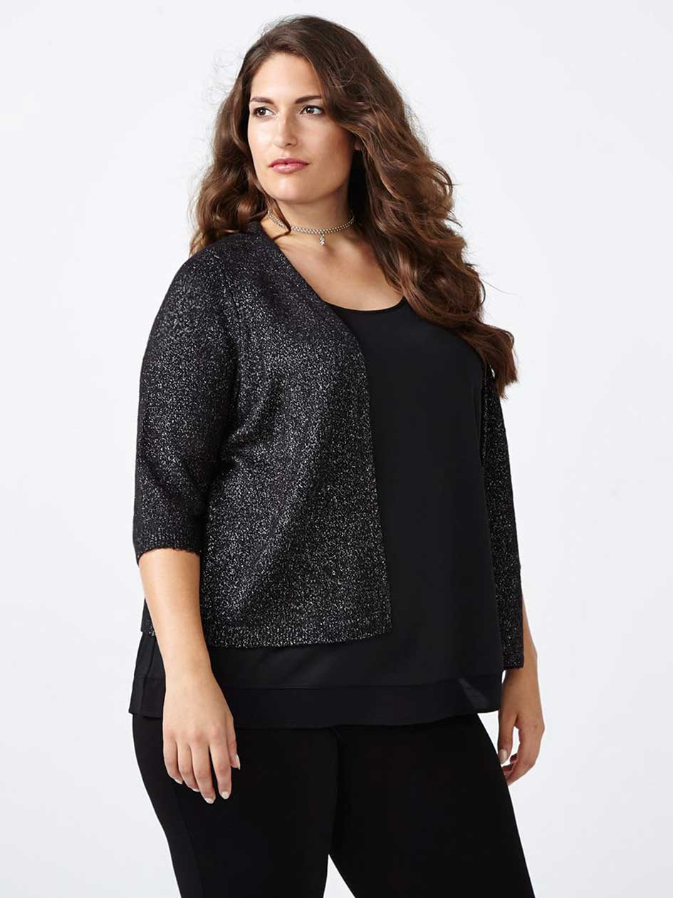 Elbow Sleeve Shimmer Open Cardigan