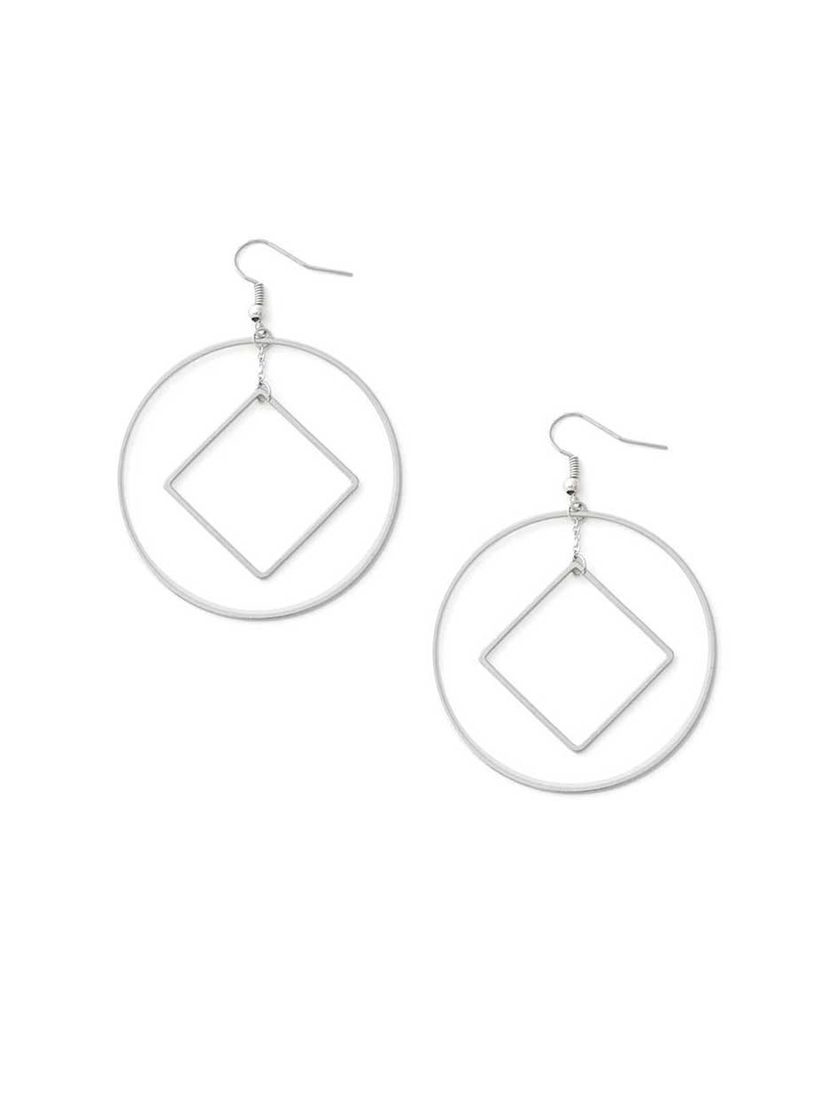 Hoop Earrings with Dangle Square