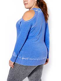 Athleisure - Plus-Size Cold Shoulder Pullover