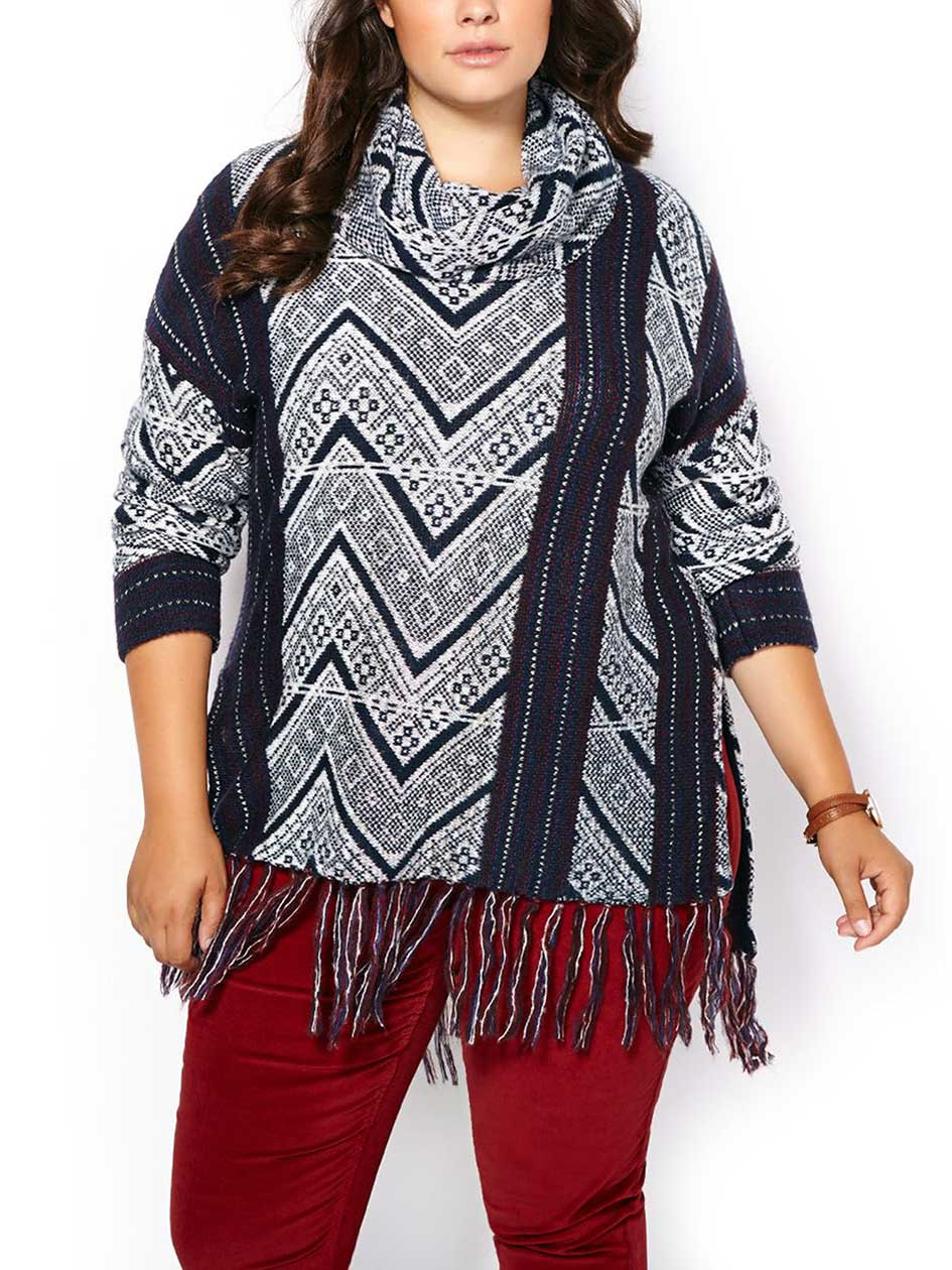 d/c JEANS Long Sleeve Cowl Neck Patterned Fringe Sweater