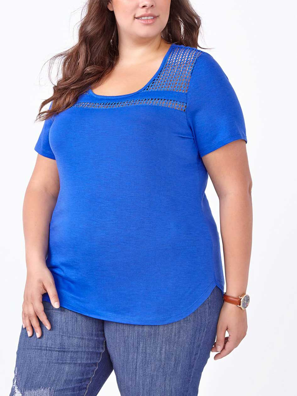 Shaped Fit T-Shirt with Crochet