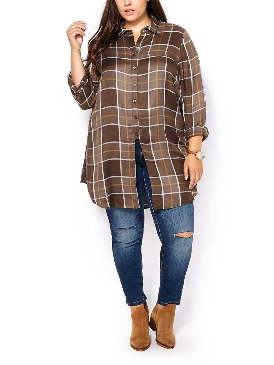 d/c JEANS Long Sleeve Plaid Tunic