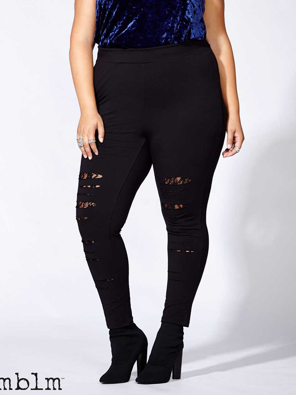 mblm - Black Legging with Rips and Lace