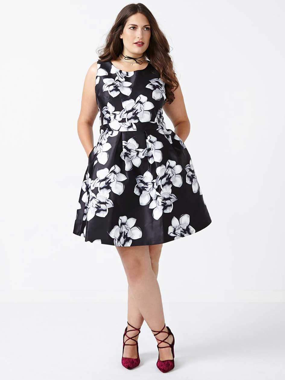 ONLINE ONLY - Printed Fit and Flare Dress