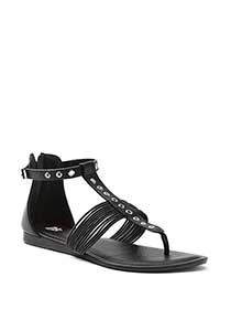 Wide Width Faux-Leather Sandals with Eyelets