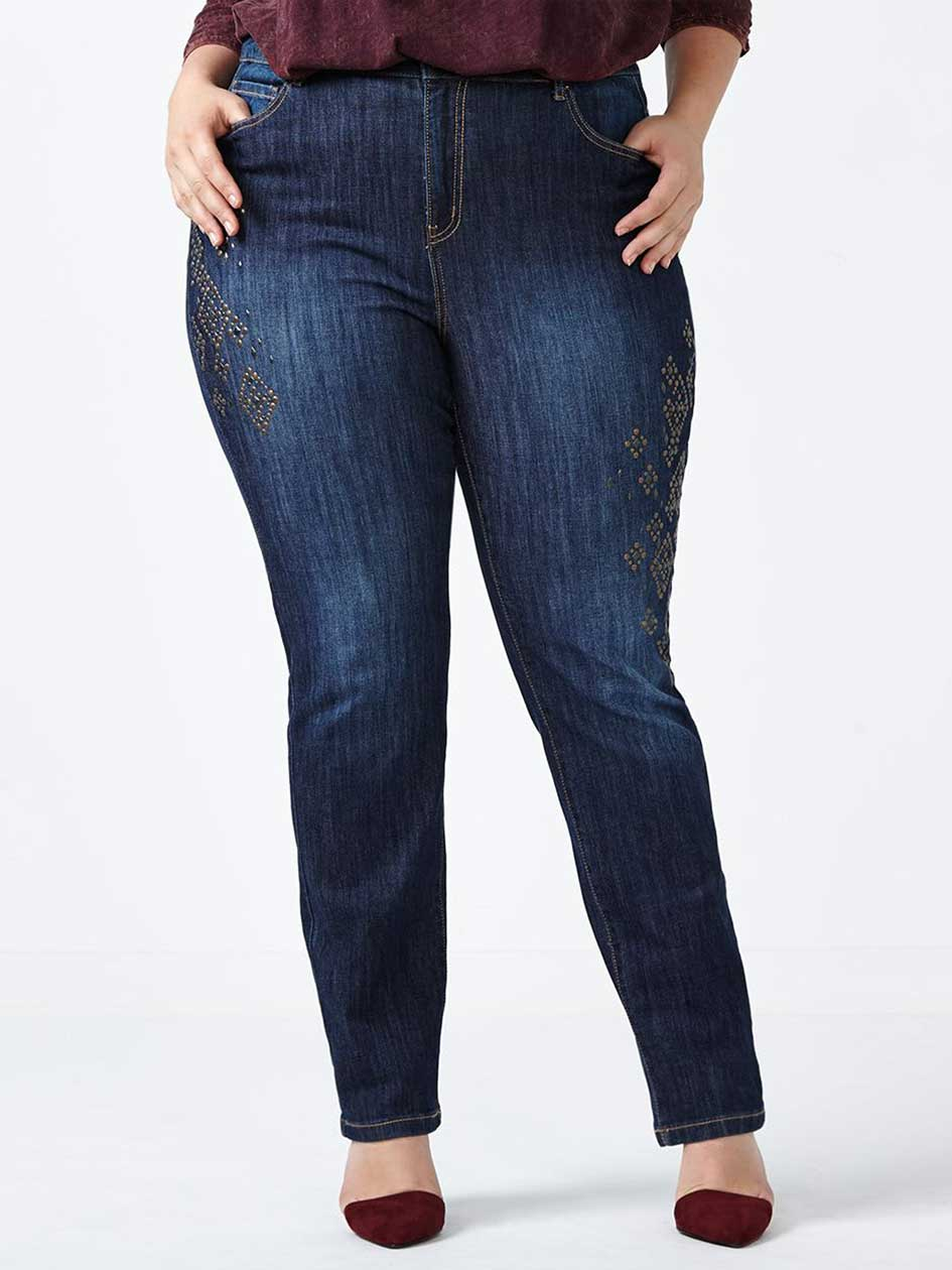 d/c JEANS Petite Slightly Curvy Fit Straight Leg Embellished Jean