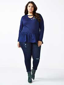 d/c JEANS Embroidered Peplum Top