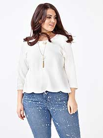 MELISSA McCARTHY 3/4 Sleeve Scalloped Top