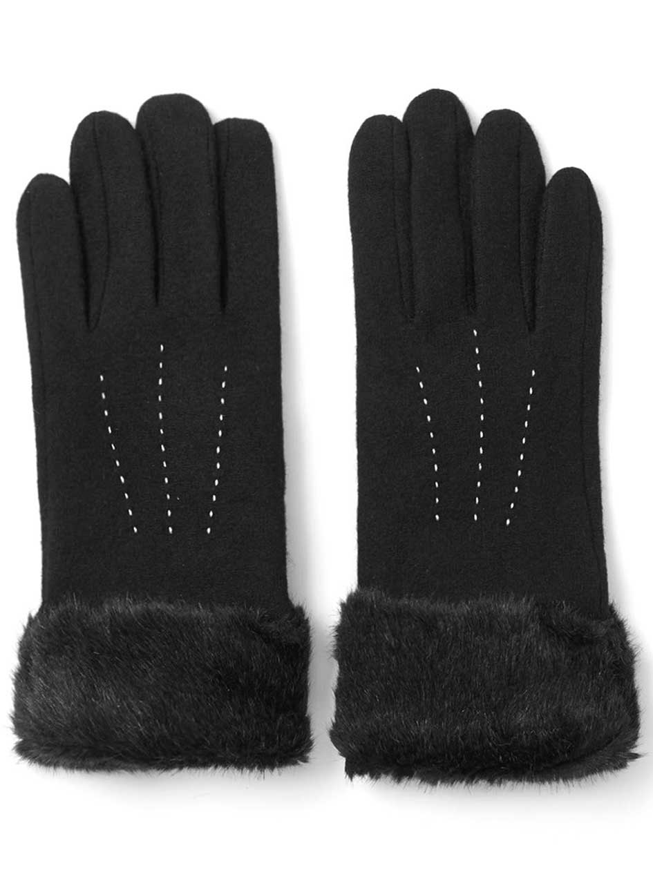 Touch Screen Friendly Gloves with Faux-Fur Cuffs