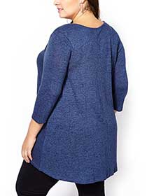 d/c JEANS 3/4 Sleeve Swing Top with Cut-Outs