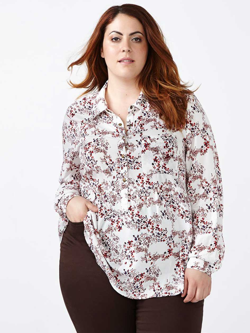 d/c JEANS Printed Popover Blouse
