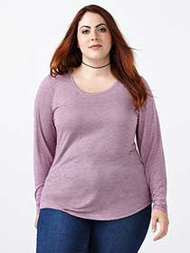Layered Fit Long Sleeve Scoop Neck T-Shirt