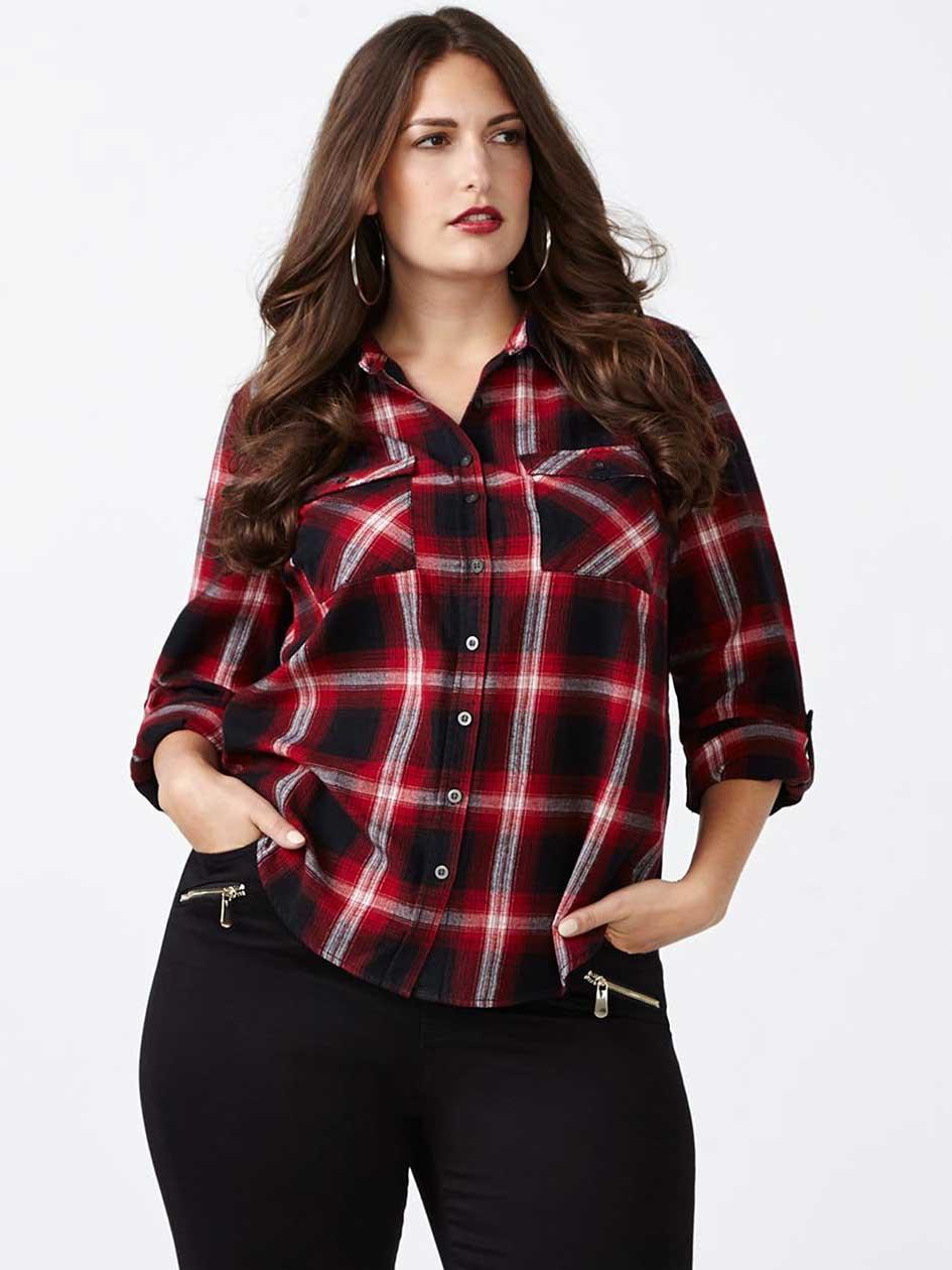 d/c JEANS Long Sleeve Cotton Plaid Shirt