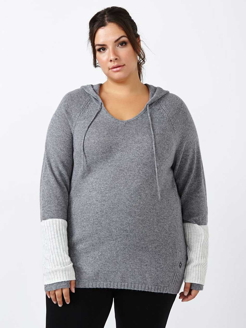 Essentials - Plus-Size Basic Hooded Sweater
