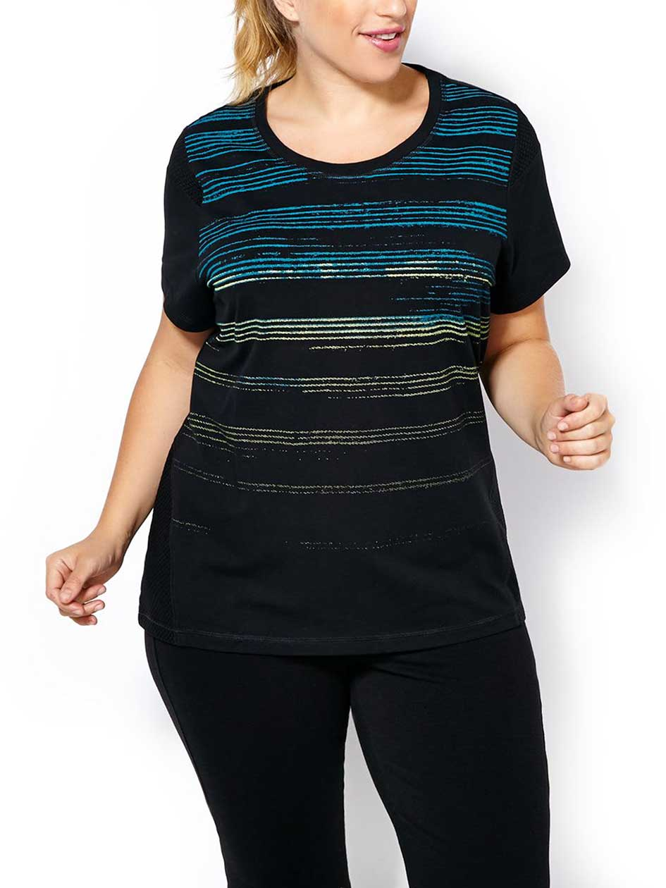 Essentials Tech - Plus-Size Striped T-Shirt