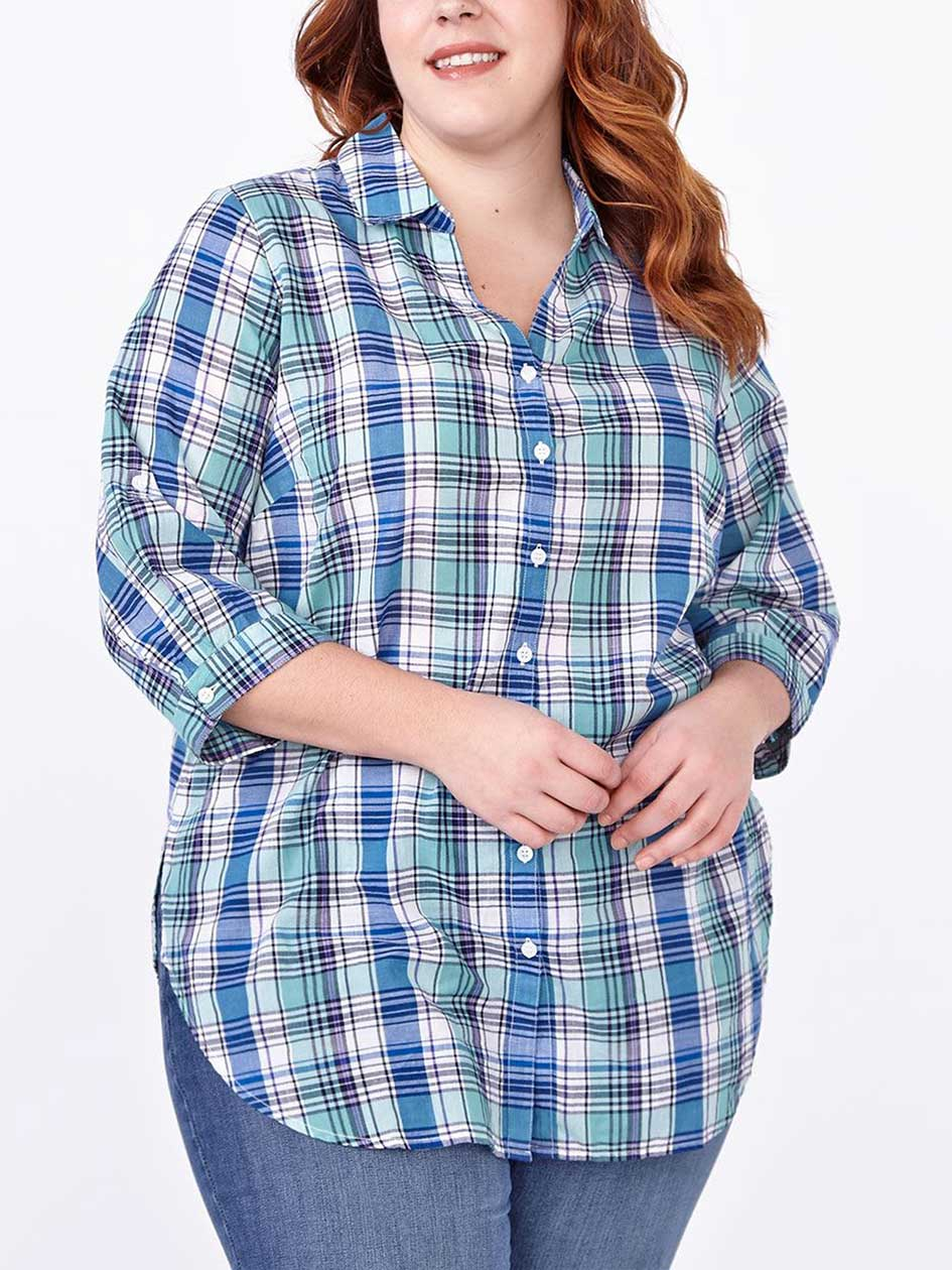 d/c JEANS 3/4 Sleeve Cotton Plaid Shirt