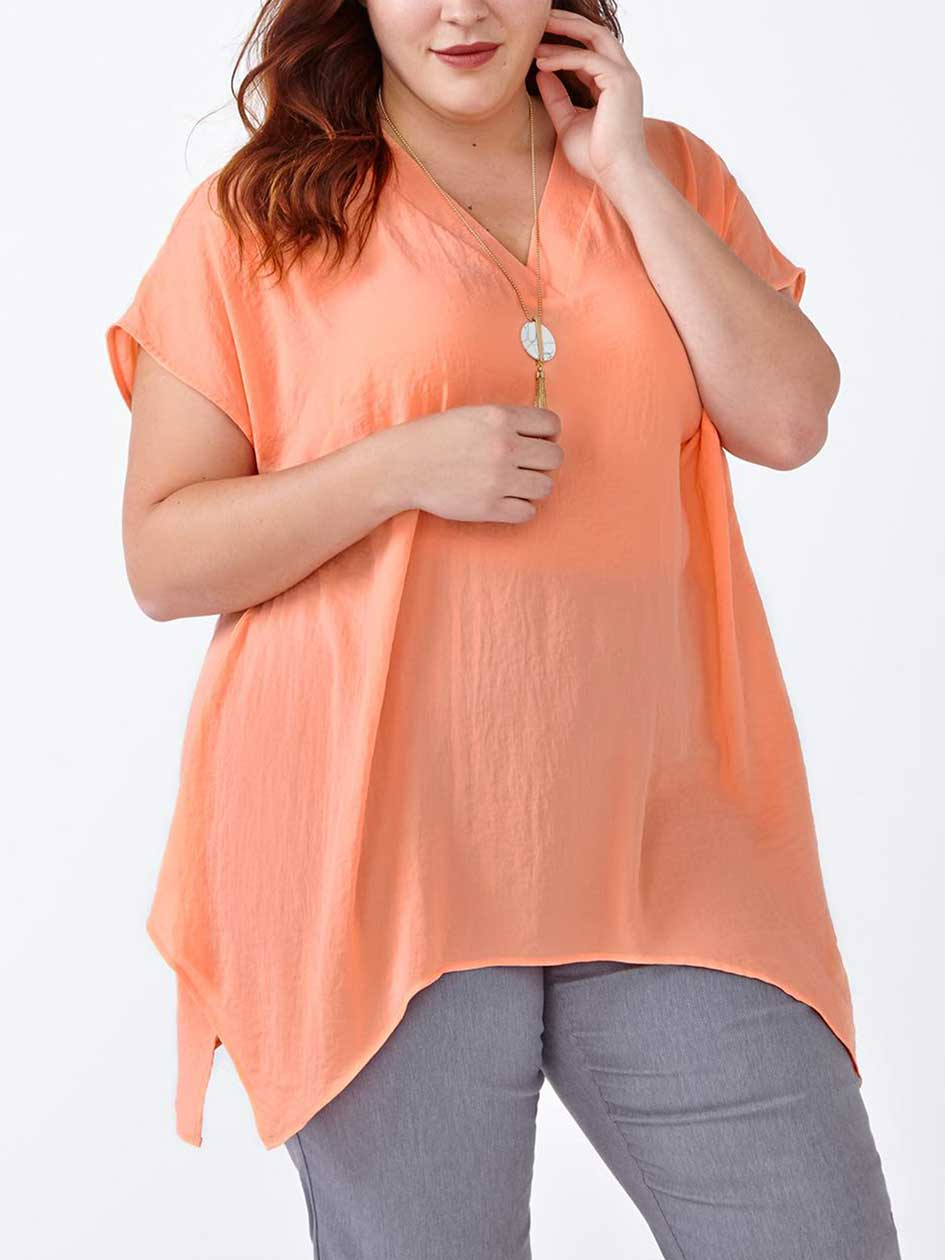 Short Sleeve V-Neck Blouse