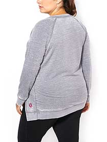Athleisure - Plus-Size Asymmetric Fleece Top