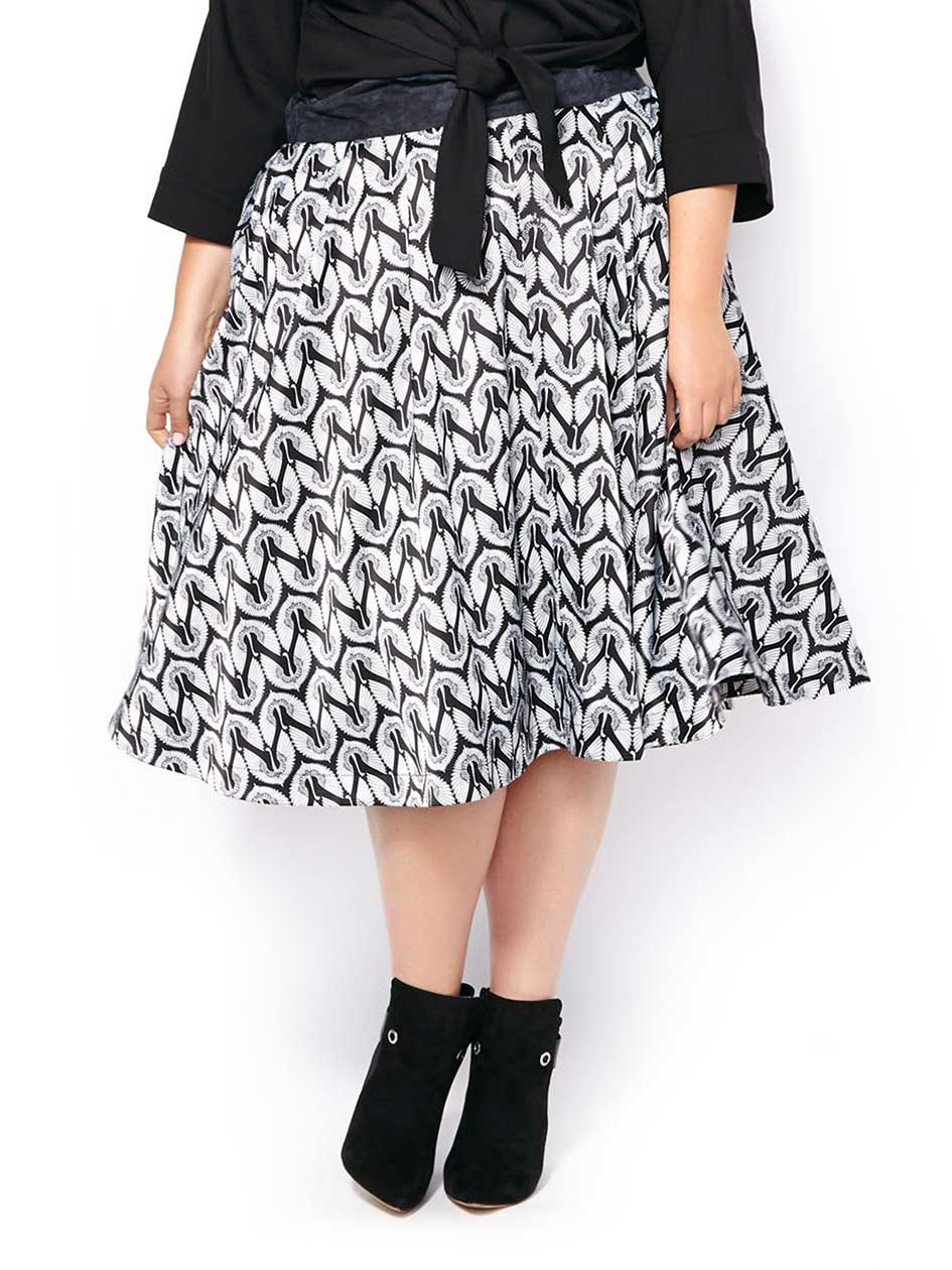 MELISSA McCARTHY Printed Pleated Skirt