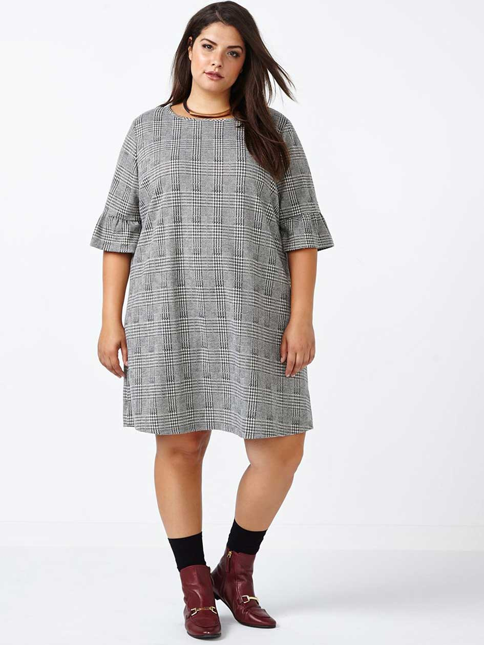 ONLINE ONLY - Bell Sleeve Patterned Dress