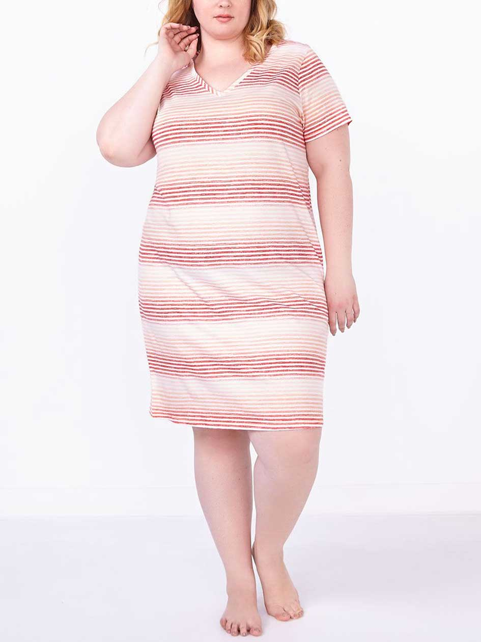 Ti Voglio Short Sleeve Striped Cotton Sleepshirt